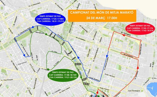 El centro de Valencia, cortado de 15 a 21 horas por el Medio Maratón