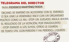 Telegrama para Federico Martínez Roda