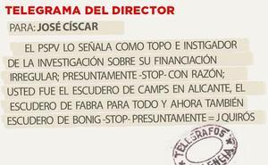 Telegrama para José Císcar