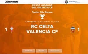 Elige al mejor jugador del Valencia CF en el partido de hoy