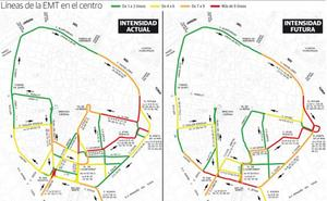 La EMT casi duplicará las líneas por Colón en la remodelación del centro