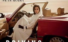 Polémica por una portada de Vogue Arabia con una princesa saudita posando en un convertible rojo