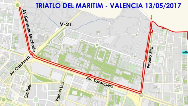 Calles cortadas hoy en Valencia por el Santander Triathlon Series
