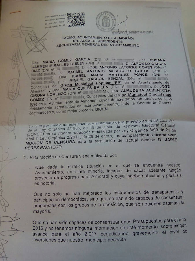 Los documentos de la moción de censura