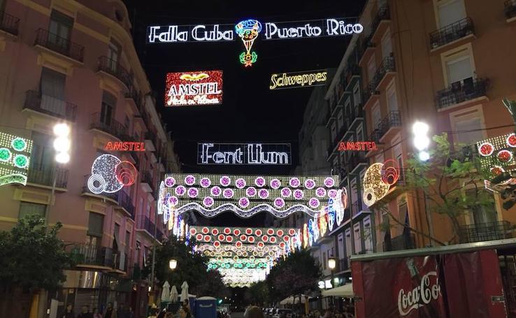 Las calles iluminadas de las Fallas 2018