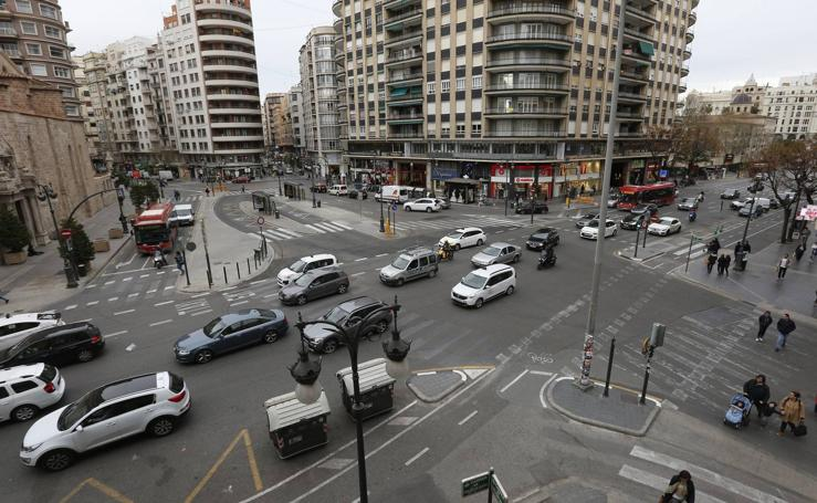 Tráfico de alto riesgo en la plaza San Agustín de Valencia