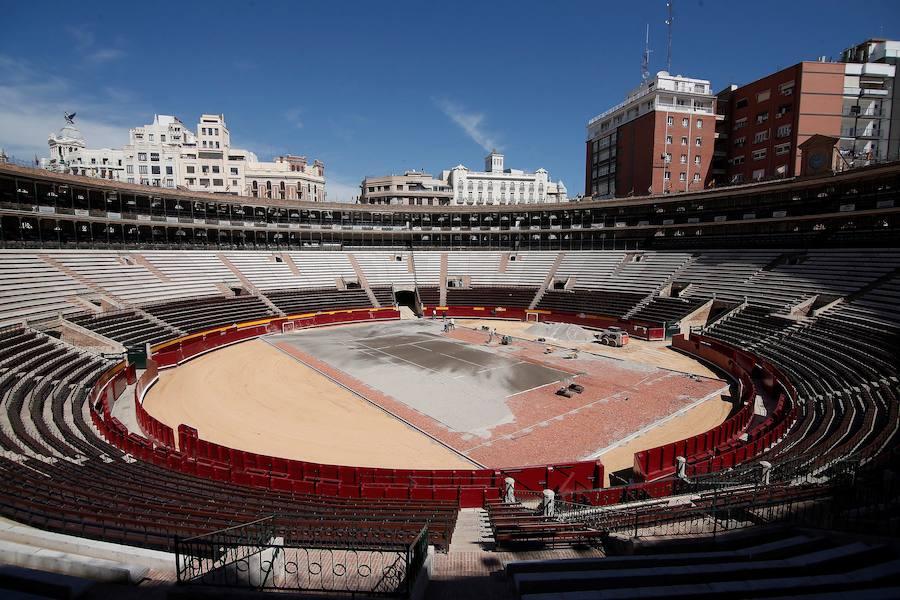 Así está quedando la Plaza de Toros para la Copa Davis
