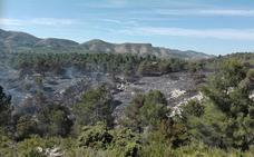 Los bomberos dan por controlado el incendio forestal en la Vall d'Alcalà tras calcinar entre tres y cinco hectáreas