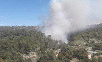 Dan por extinguido el incendio en la Vall d'Alcalà tras calcinar cuatro hectáreas