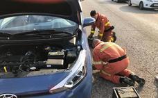 Los bomberos rescatan en Paterna a un gato atrapado en el motor de un coche