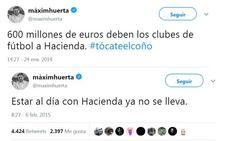 Los tuits del ministro Huerta criticando los fraudes a Hacienda
