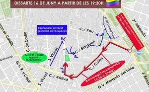 Calles cortadas hoy en Valencia por la manifestación del Orgullo LGTBI 2018