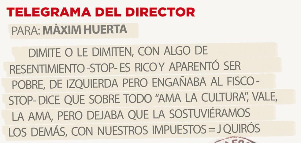 Telegrama para Màxim Huerta
