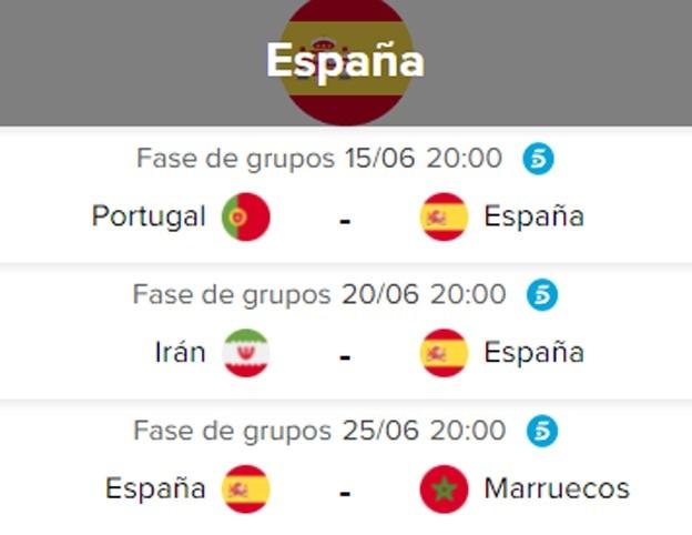Día, horario y televisión de los partidos de España en el Mundial de Rusia 2018