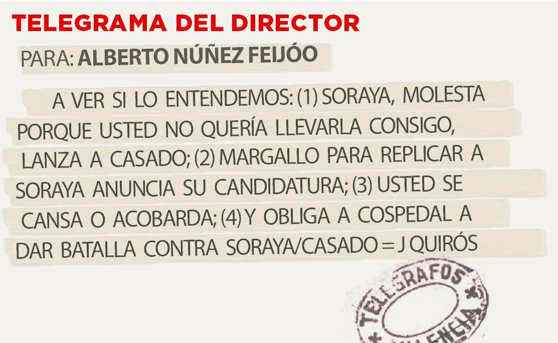 Telegrama para Alberto Núñez Feijóo