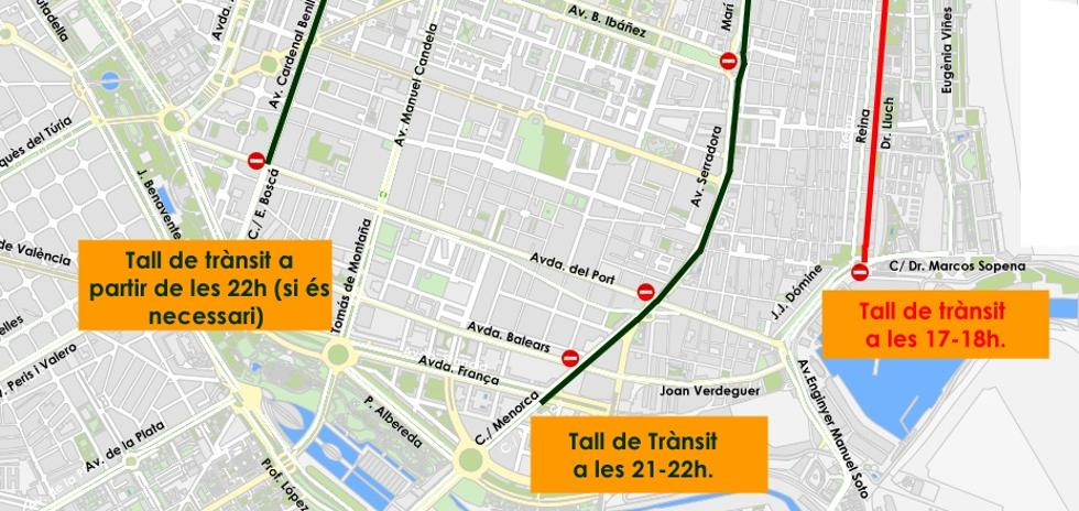 Calles cortadas en Valencia por la noche de San Juan 2018