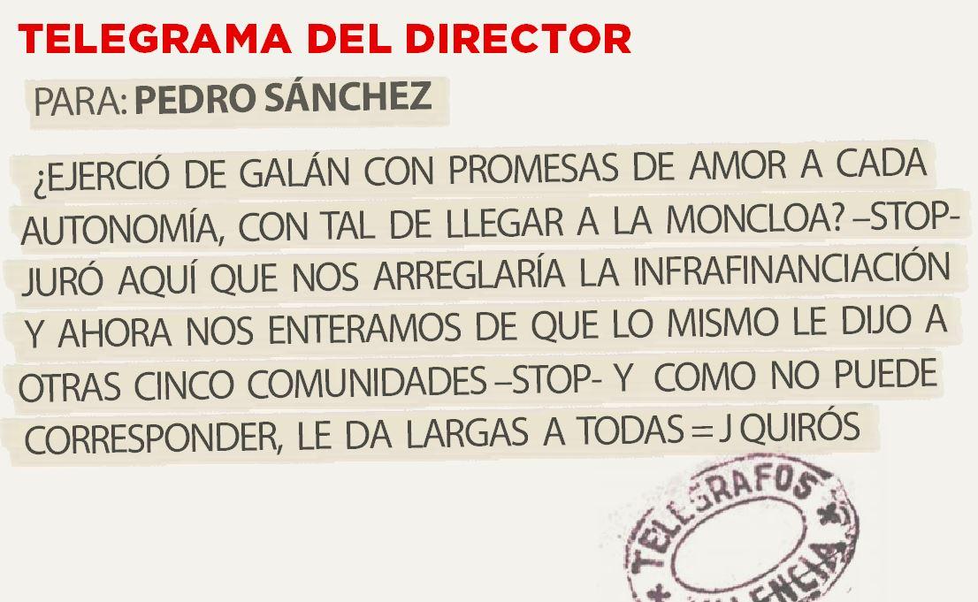 Telegrama para Pedro Sánchez