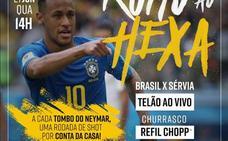Un bar de Río invita a una ronda de chupitos por cada caída de Neymar
