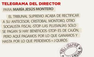 Telegrama para María Jesús Montero