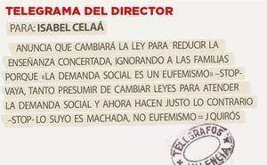 Telegrama para Isabel Celaá