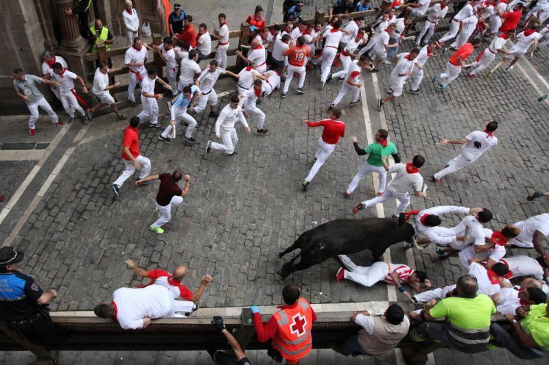 Fotos del encierro de San Fermín con toros de Jandilla (viernes 13 de julio de 2018)