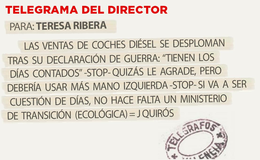 Telegrama para Teresa Ribera