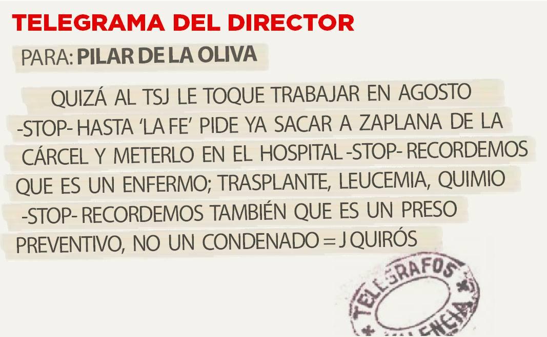 Telegrama para Pilar de la Oliva