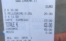Dos cafés y dos aguas por 43 euros en Venecia