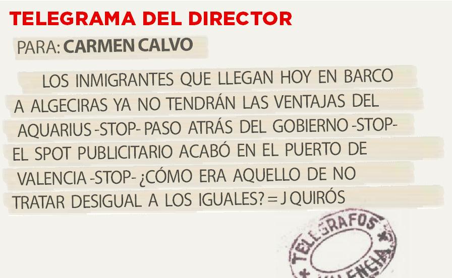 Telegrama para Carmen Calvo
