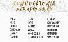 Batsuayhi, Gameiro y Cheryshev, convocados contra el Atlético de Madrid