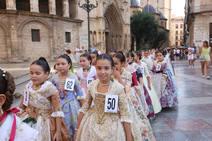 Las candidatas a fallera mayor infantil de Valencia 2019, en la plaza de la Virgen