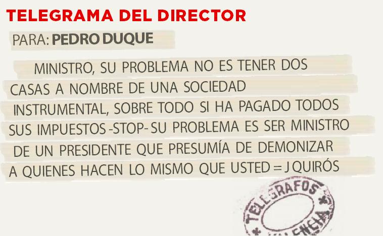 Telegrama para Pedro Duque