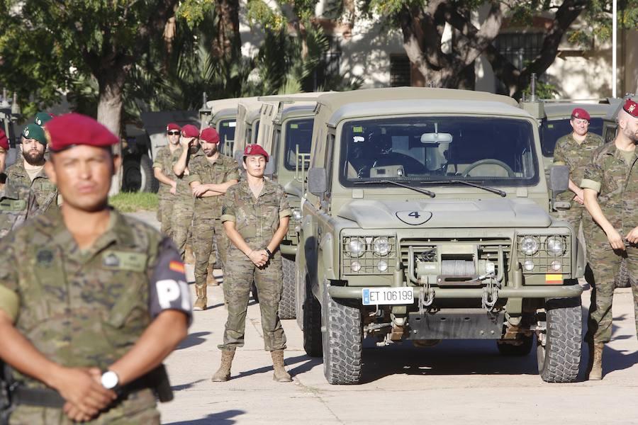 Fotos del convoy militar que sale de Paterna rumbo a una guerra simulada en Noruega