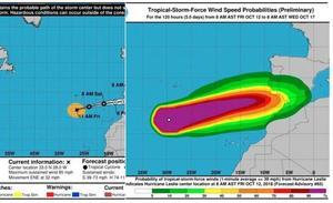 El huracán Leslie se acerca a España y podría tocar tierra esta noche