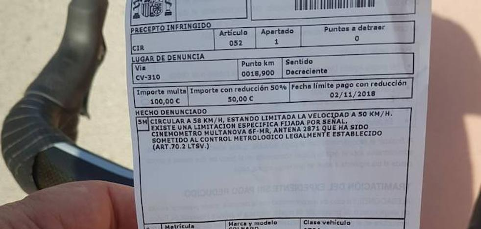 Un radar multa a un ciclista por exceso de velocidad en Náquera