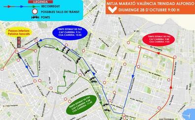 Calles cortadas en Valencia por el Medio Maratón 2018
