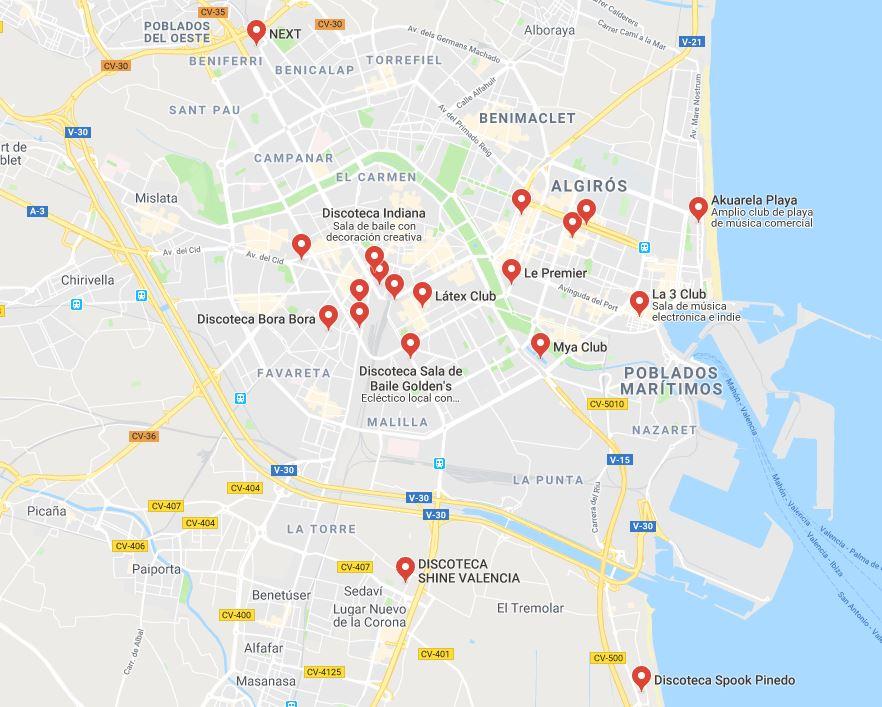 Todas las discotecas que hay en Valencia