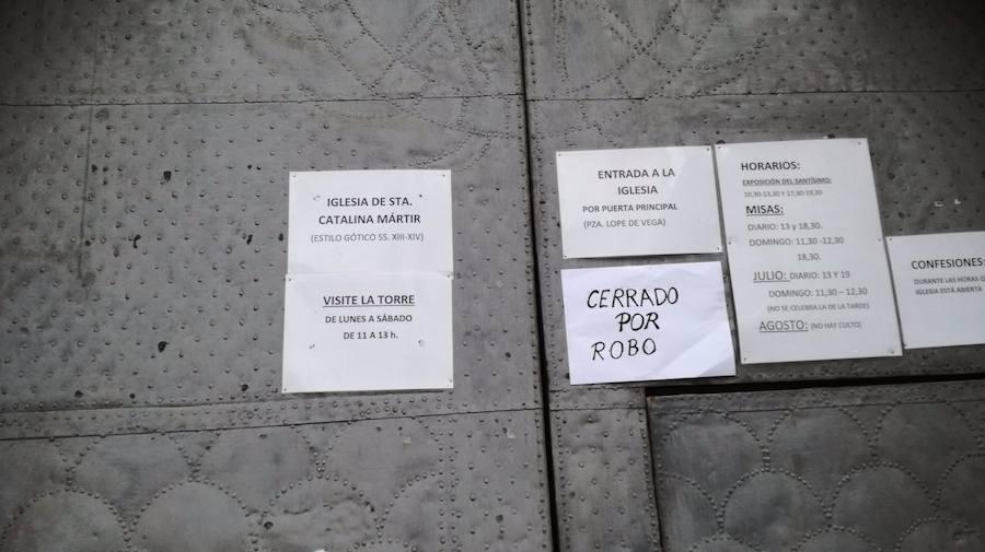 Cierran la iglesia de Santa Catalina por los daños causados por un ladrón