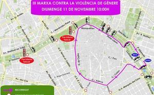 Calles cortadas hoy en Valencia por la III Marcha contra la Violencia de Género en Valencia