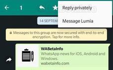Lo último en WhatsApp: responder a mensajes de grupo en un chat privado