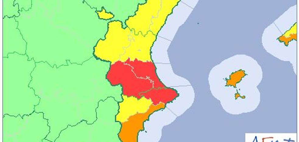 Aemet activa la alerta roja en Valencia y el norte de Alicante por lluvias de hasta 180 l/m2
