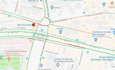 Dos accidentes provocan retenciones a la entrada a Valencia por la avenida del Cid