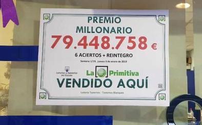Un acertante de la Primitiva de este jueves gana 80 millones de euros en Valencia