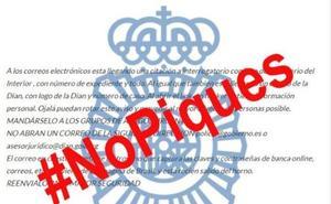 La Policía Nacional alerta de un nuevo virus por correo electrónico que cita a un interrogatorio