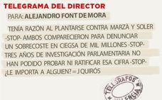 Telegrama para Alejandro Font de Mora