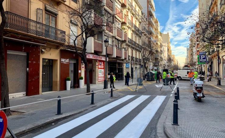Obras en la calle Cirilo Amorós de Valencia