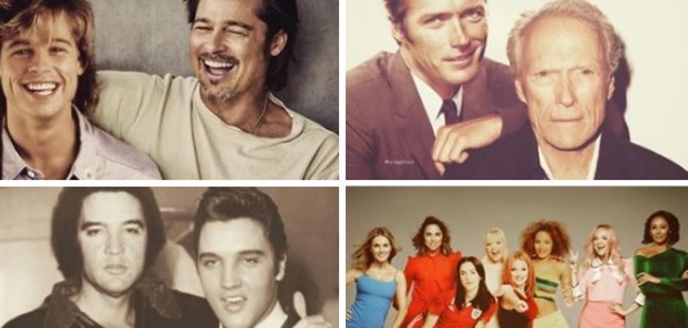 El antes y después de los famosos posando junto a sí mismos