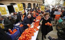 Los agricultores han repartido 4.000 kilos de naranjas gratis en Valencia