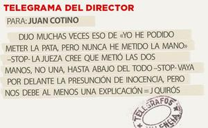 Telegrama para Juan Cotino
