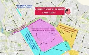 El mapa de los cortes de calles en Valencia durante las Fallas 2019